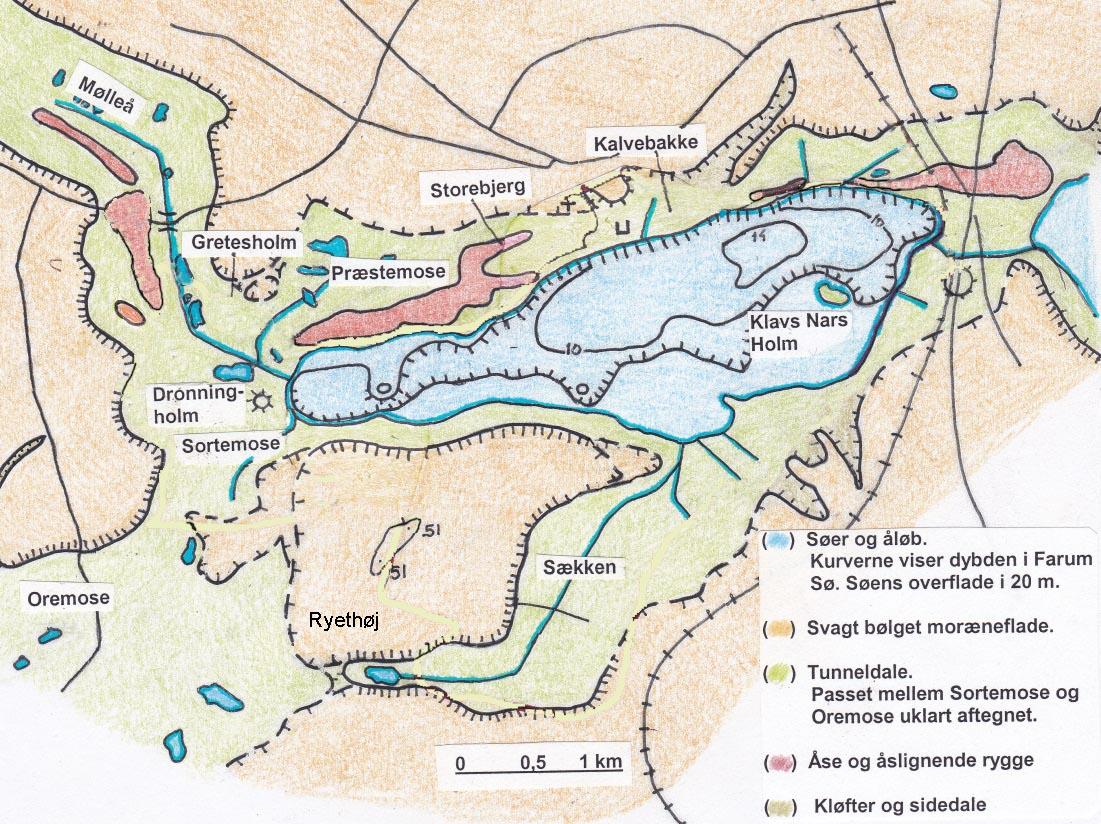 Geologisk kort over Farum Sø - klik for større udgave